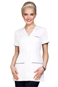 White button front tunic with collar