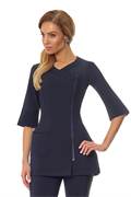 Navy crossover zip front tunic with navy trim and front pocke