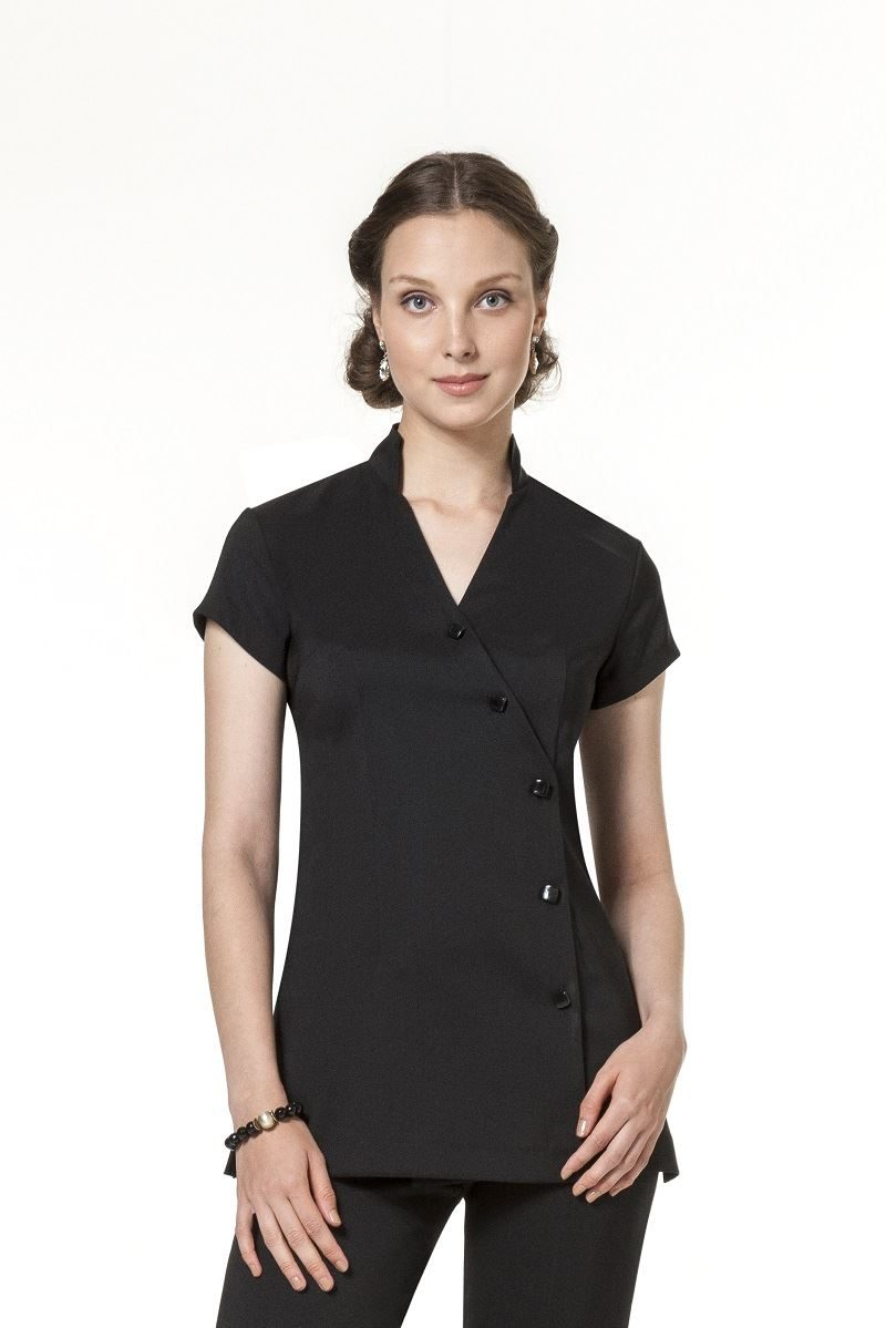 Black V neck button front tunic in bi-stretch fabric