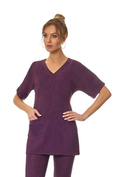 Plum long sleeved front pocket tunic with detachable belt