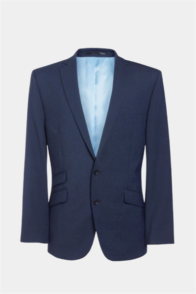 Navy slim fit jacket with double front pocket and narrow lapels