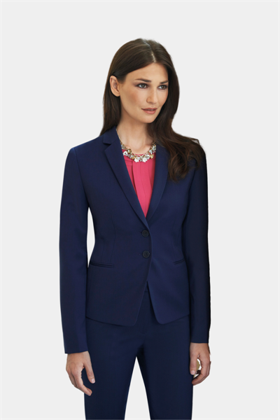 Navy front button closing jacket with narrow lapel and shorter length