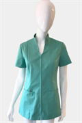 Aqua tunic with zip front and pockets