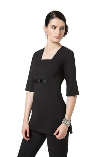 Black long sleeve tunic with bow detail and pockets in bi-stretch fabric