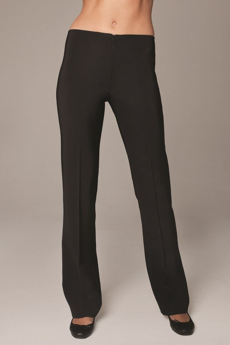 Black straight leg trousers with front zip