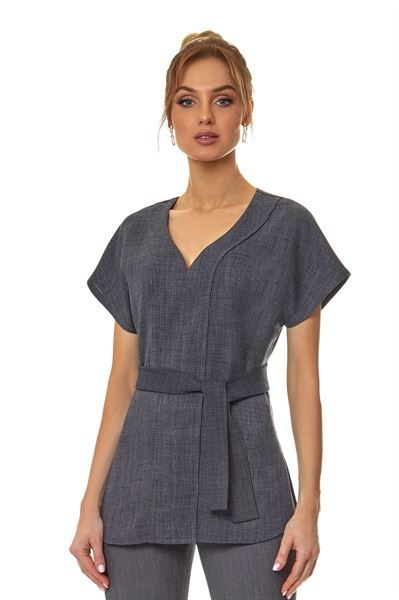 Loose high v neck grey tunic with detachable belt