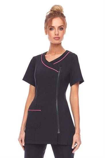 Black crossover zip front tunic with cerise trim and front pocket