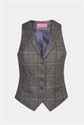 Grey brown check waistcoat with five button front and welt pockets