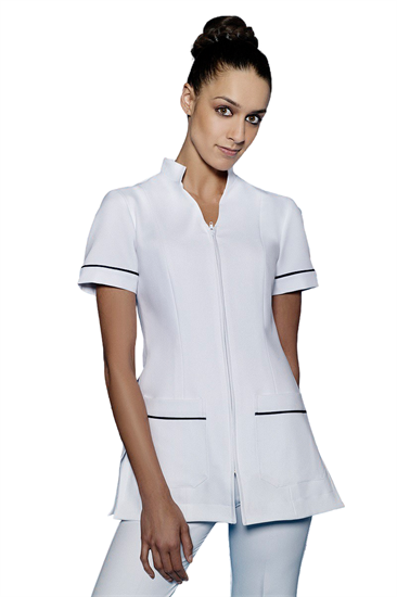 White tunic with zip front and pockets