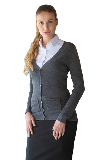 Grey button front low v neck cardigan with pockets