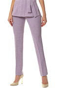 Lilac slim leg trousers with front zip and buttons