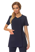 Navy button front tunic with navy trim and pocket
