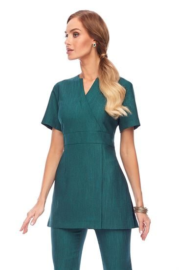 Emerald V neck short sleeve tunic with side slits