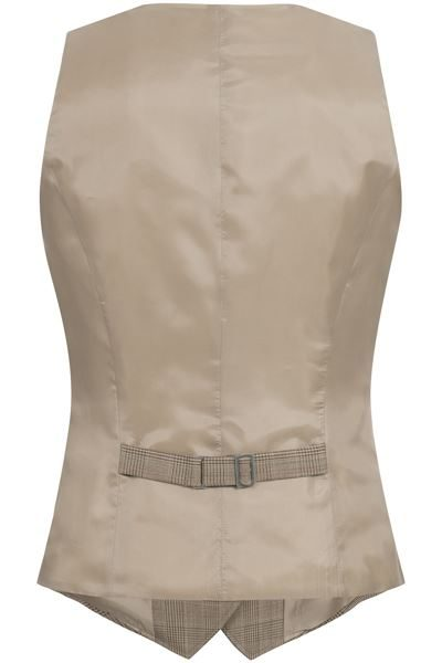 Back of beige glen check waistcoat with buckle detail