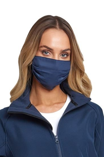 Block Colour Navy Face Masks with Model