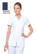 White zip front tunic with pockets