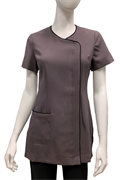 Smoke front button tunic with black trim and front pocket