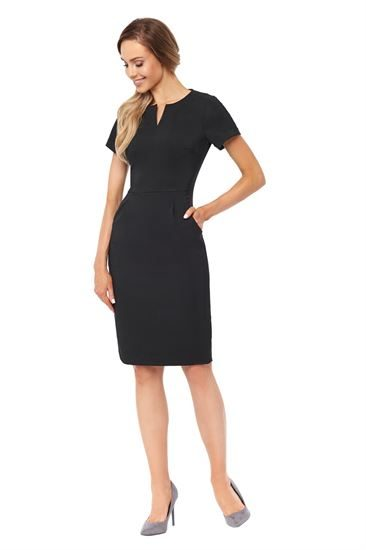 Black waist detail dress with pockets in bi-stretch fabric