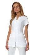 White V neck tunic with pockets and zip in bi-stretch fabric