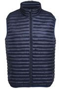 Navy zip front sleeveless jacket with high neck