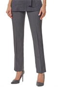 Grey slim leg trousers with front zip and buttons