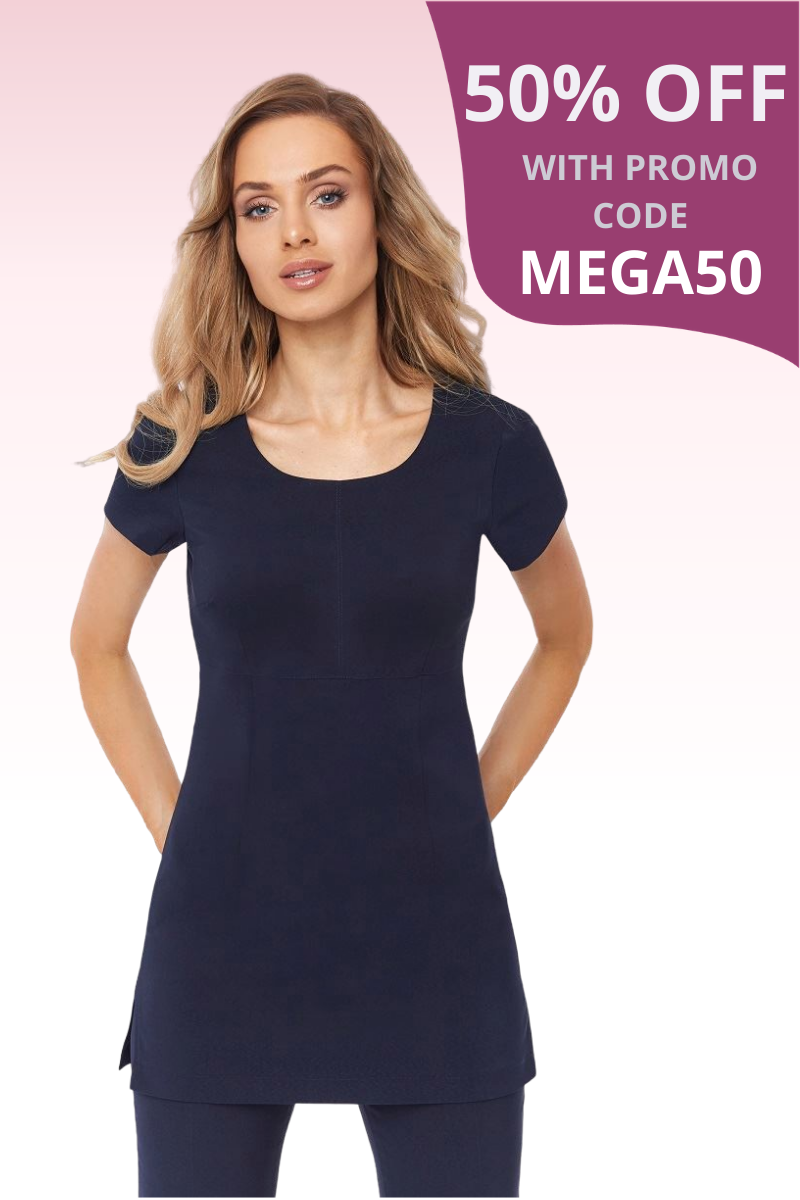 Navy round neck tunic in bi-stretch fabric