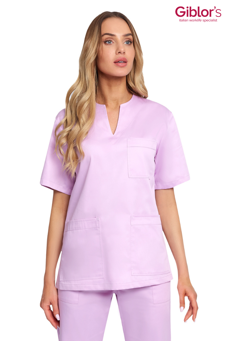 Model showing off the Lilac Ladies Margherita Luxsatin Regular Fit Scrub Top
