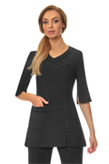 Black long sleeve crossover zip front tunic with black trim and front pocke