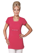 Cerise square neck bow detail tunic in bi-stretch fabric