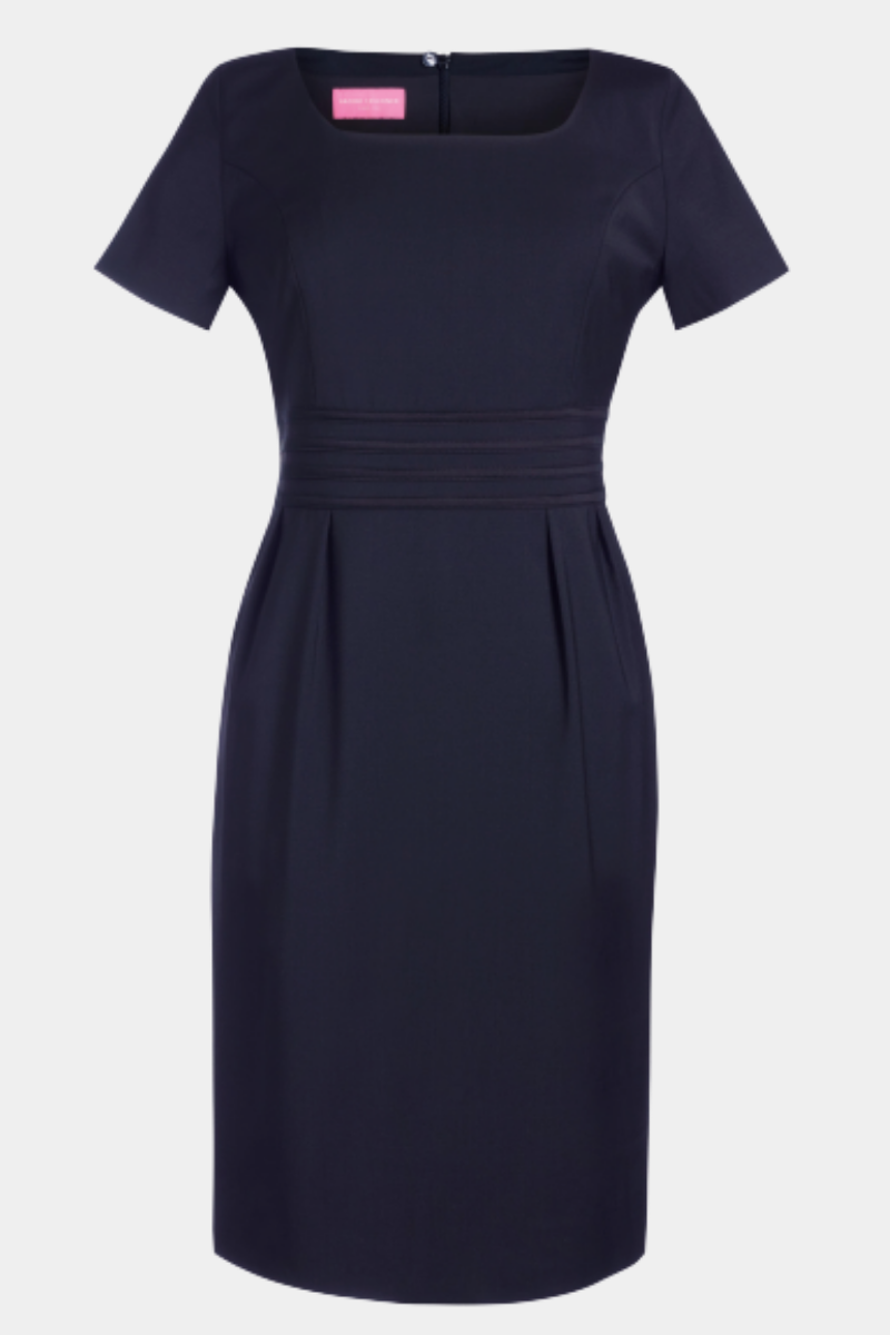 Navy round neck dress with satin ribbon detail at waist